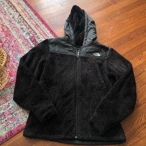 The north face black hooded fleece zipper jacket